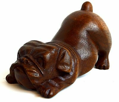Meditating Yoga Puppy Bulldog Collectible Statue Hand Carved Wood Dog English