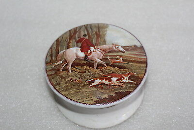 Antique Prattware Pot Lid & Base - The Master Of The Hounds
