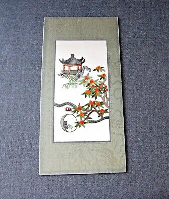 Vintage Japanese Landscape Hand Embroidery Silk Fabric Mat Written On Back