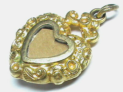 Antique Georgian Victorian gold plated Heart Locket Pendant