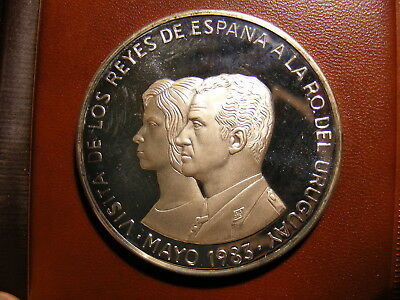 Uruguay 20000 Nuevos Pesos, 1983, Visit of King and Queen of Spain, Silver Proof