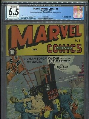 1940 Timley Marvel Mystery Comics #4 1St Sub-Mariner Cover Cgc 6.5 Conserved