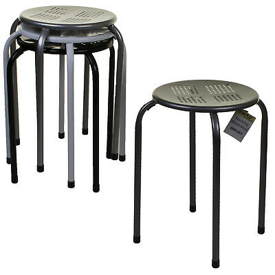 Metal Stool Stacking Dining Living Room Kitchen Breakfast Seating Stackable Seat