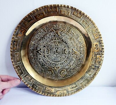 Lovely Vintage Brass Tray with Ethnographic Design - 30cm Diameter. Metalware