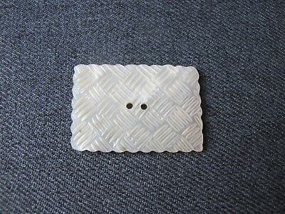Antique carved woven mother of pearl mop large button      #2
