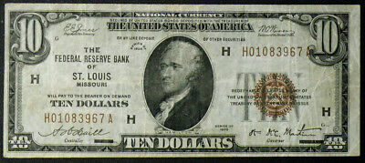 $10 1929 FEDERAL RESERVE BANK of ST LOUIS, MO - VF CIRCULATED
