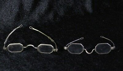 2 Pairs Antique 19thC Coin Silver Eye Glasses Spectacles