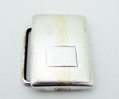 "HICKOK 1-7/16"" X 1-1/16"" Sterling Silver 14k Gold Inlay Belt Buckle Monogram"