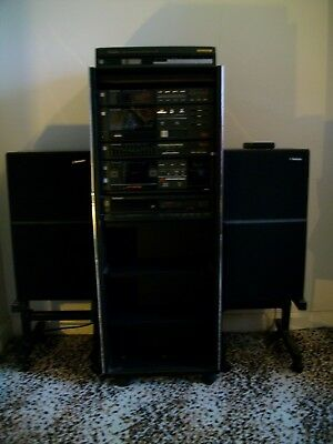 Vintage Complete Technics Stack System Stereo HiFi in Black Cabinet
