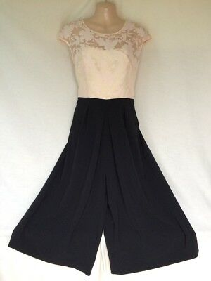 Ted Baker Peach & Black Culottes Style Occasion Jumpsuit Approx 10-12