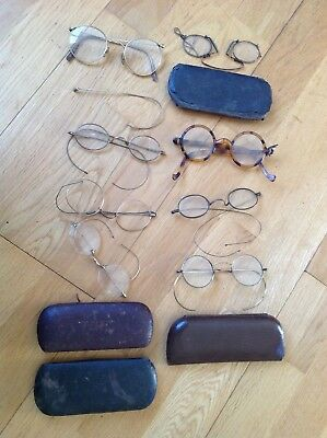 Collection Of Antique Spectacles Glasses Victorian, Gold Frames ? Opticians
