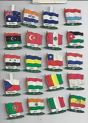 Lot of 20 Diff #3 1959 NABISCO NATIONAL FLAG Tin Tab Pins Shredded Wheat Cereal
