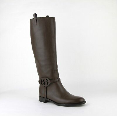 1e1ae8908f5d7  1440 GUCCI BROWN Leather Knee Boots with Interlocking G 338541 2140 ...