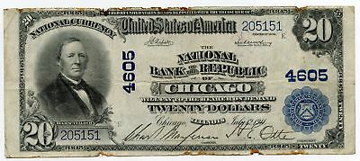 1902 $20 National Currency Note 4605 Republic Bank Chicago - Large Size - AQ606