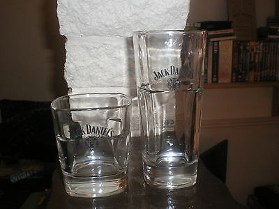 Jack Daniels Tennessee Whiskey Black Label Pair Of Glasses Hi Ball And Rocks