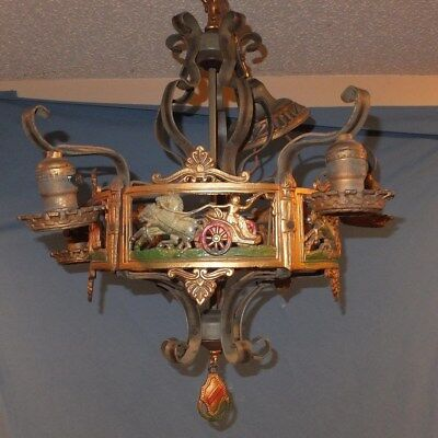 Old Art deco Figural Cast metal chariot Chandelier parlor Hanging Lamp
