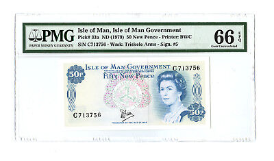 1979 50 NEW PENCE ISLE OF MAN GREAT BRITAIN PMG 66 EPQ PICK 33a BANKNOTE GEM UNC
