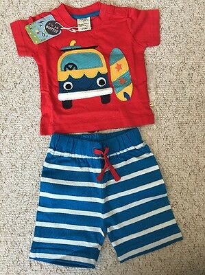 NEW Frugi Organic Cotton Porthleven Outfit 0-3Mths Short Top BNWT New Baby Gift