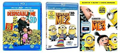 Despicable Me 1-3 3D + 2D Blu-Ray Bundle BRAND NEW Free Ship (USA Compatible)