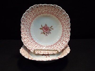 "Set of (2) Johnson Brothers Rose Bouquet 7"" Soup Bowls"
