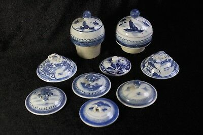 9 Antique 19thC or Earlier Chinese Blue & White Porcelain Lids Tops