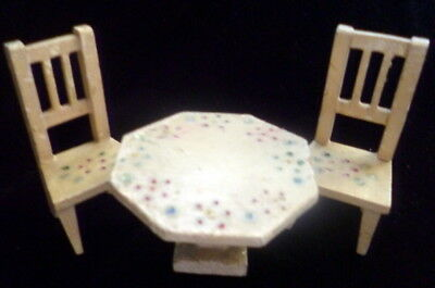 Antique German Dollhouse Miniature White Painted Dining Table & Two Chairs