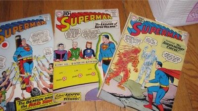 3 DC COMICS SUPERMAN 145 147 184 GOOD 1st LEGION SUPER VILLAINS