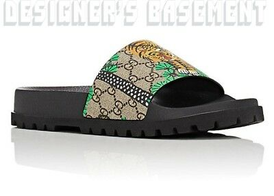Gucci Mens 7g Bengal Tiger Gg Supreme Slides Sandals Flip Flop Shoes Nib Authent