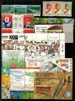Malaysia Scott 517 // 818 Mint NH sets and S/S (Catalog Value $54.25)