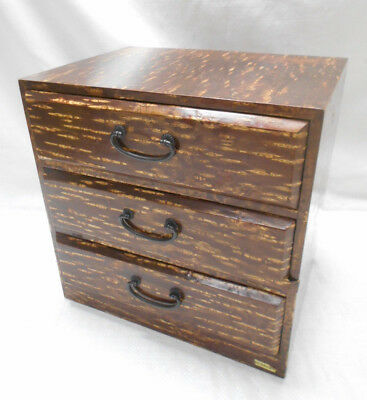 Vintage Cherry Wood Dresser Jewellery Box Japanese Drawers Circa 1960s #750