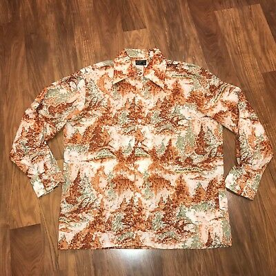 Vtg 60s 70s JCPenney Mens LARGE Disco POLYESTER Mod SATURDAY NIGHT FEVER shirt L