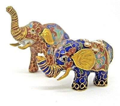 Vintage Set of 2 Cloisonne Miniature Elephants Trunks Up