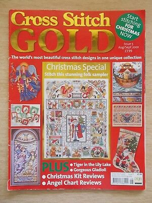 Cross Stitch Gold #5~Xmas~Samplers~Noah's Ark~Angel~Tiger~Cathedral Window~2001