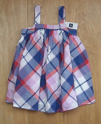 Lovely New Baby Gap Girls Checked Sleeveless Blue White Pink Red Dress 18-24 Mth