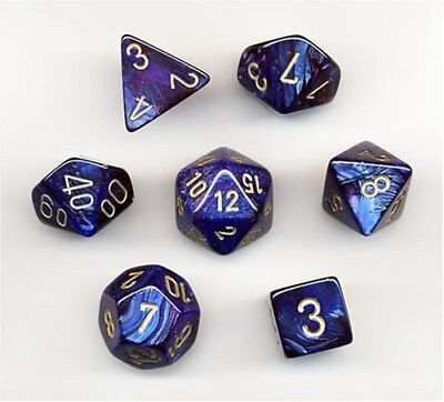 Polyhedral 7-Die Scarab Chessex Dice Set - Royal Blue with Gold CHX 27427