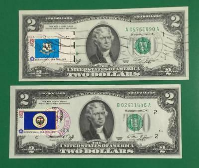 1976 $2 First Day Issues Boston & New YOrk Districts Postmarked! Old Currency