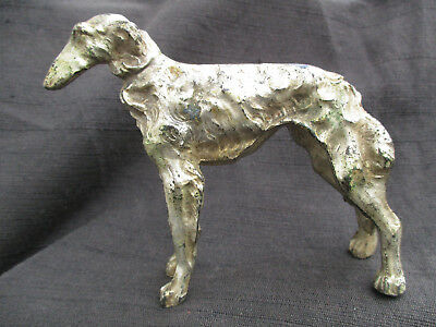 VINTAGE JAPAN AFGHAN HOUND or SCOTTISH DEERHOUND DOG METAL FIGURINE