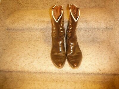 Vintage 1960s Acme Cowboy Boots Brown With Nice Inlays Size 10 Very Good Cond