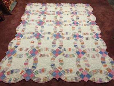 1930's Antique Feed Sack Double Wedding Ring Quilt w/Provenance No 15