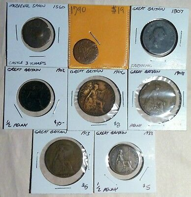 Lot of 8 Old Copper European Coins, Includes Medieval and Colonial
