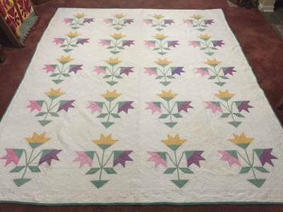 Noon Day Lily Applique Better than Cutter Quilt w/Provenance No 2