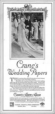 Will Foster CRANES WEDDING PAPERS Bride & Groom PITTSFIELD 1913 Magazine Ad