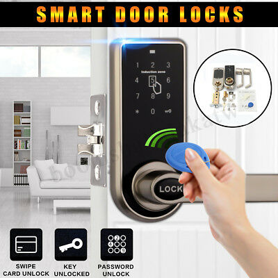 Digital Keyless Electronic Code Door Lock 5x RFID Card Tags Entry Keypad Handle