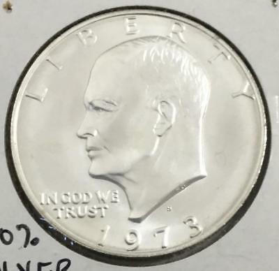 1973S US Choice Uncirculated Eisenhower SILVER Dollar! Key Date! Old Coins!