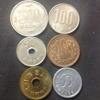 Japan Lot of 6  ¥ coins  Japanese 500, 100, 50, 10, 5 and 1 Yen Coin 1975 - 1997