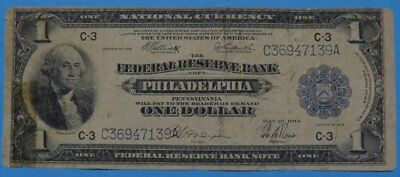 1918 $1 National Currency Federal Reserve Note Philadelphia Bank Good Cond.
