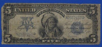 1899 $5.00 INDIAN CHIEF Silver Certificate GOOD Cond. Chief Running Antelope