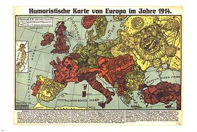 HUMOROUS MAP OF EUROPE 1914 vintage german poster POLITICAL COLLECTORS 24X36