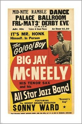 big jay MCNEELY all star JAZZ BAND vintage poster COLLECTORS COLORFUL 24X36