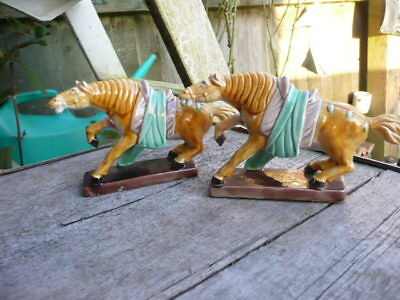 Vintage Chinese Horses Marked To Bases,